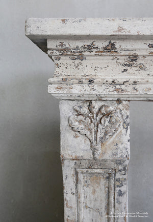 19th Century French Limestone Louis XIV Fireplace Mantel for Interiors