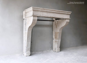 19th Century French Burgundy Limestone Fireplace Mantel Campagnarde Style