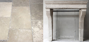 19th Century French Burgundy Limestone Fireplace Mantel Campagnarde Style + Réedition 17th Century Antique Bar de Montpellier French Limestone Flooring