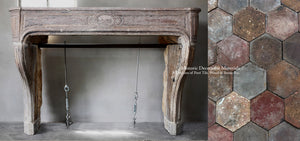 19th Century French Limestone Louis XIV Fireplace Mantel + French Reclaimed Terra Cotta Hexagon Tiles