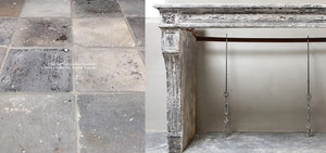 19th Century French Limestone Louis XVI Style Fireplace Mantel from Burgundy, France+ Reclaimed Belgian Terra Cotta Tiles
