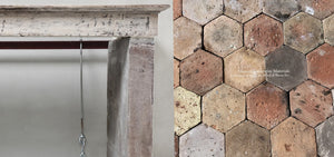19th Century French Bourgogne Limestone Campagnarde Style Fireplace Mantel + Reclaimed French Hexagon Terra Cotta Tiles
