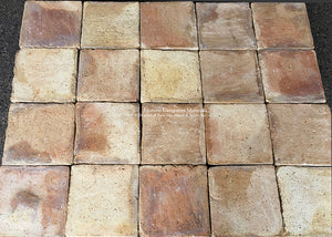 "French Reclaimed 10"" x 10"" Terra Cotta Tile from Lyon, France"