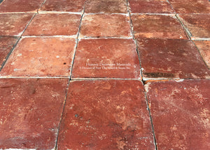 Spanish reclaimed terra cotta tile square from 19th century