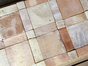 Antique French Reclaimed Terra Cotta Tile Artisanal Cut into Geometric Pattern
