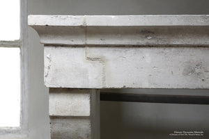 19th Century Bourgogne French Limestone Campagnarde Style Fireplace Mantel