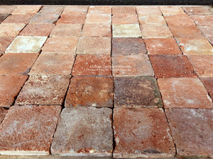 17th Century French Reclaimed Small Square Terra Cotta Tiles