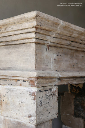 19th Century French Limestone Campagnarde Style Fireplace Mantel - Salvaged from a Castle