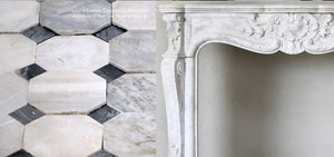 19th Century Louis XV Bianca Carrara Fireplace Mantel Salvaged from a Salon in Paris, France + Reclaimed Italian Bianca Carrara and Nero Cabochon Marble Flooring