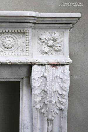 18th Century Louis XIV Bianca Carrara Fireplace Mantel Salvaged from a Salon in Paris, France