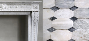 18th Century Louis XIV Bianca Carrara Fireplace Mantel Salvaged from a Salon in Paris, France + 18th Century Italian Bianca Carrara and Nero Cabochon Marble Floor