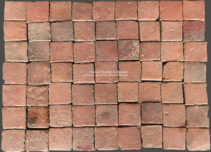 "French reclaimed terra cotta tile 4"" x 4"" squares from 17th Century Horse Stable"
