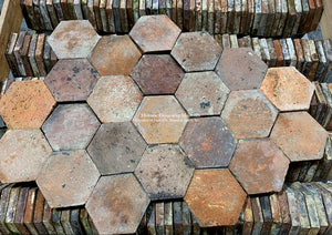 Stunning Rare Lot French Reclaimed Terra Cotta Tile Hexagon