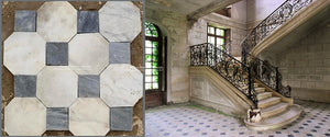 Antique Italian Bianco Carrara Octagon and Nero Cabochon Marble Stone Flooring Makes for a grand entrance, softened with French Limestone Flooring