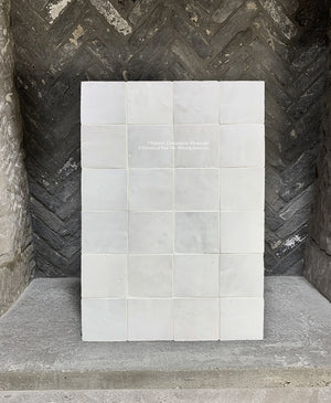 Soft Powder White Zellige Tile + Belgian Bricks and Antique French Fireplace