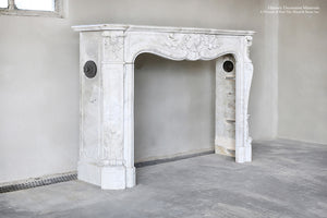 19th Century Louis XV Bianca Carrara Fireplace Mantel Salvaged from a Salon in Paris, France