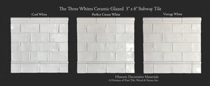 The Three Whites Glazed Ceramic Subway Tile is that arch marrying old world materials with traditional surfaces.