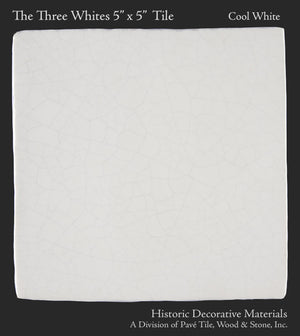 "The Three Whites 5"" x 5"" Field Tile Collection: Cool White"