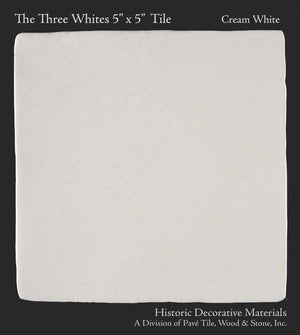 "The Three Whites 5"" x 5"" Field Tile Collection: Perfect Cream White"