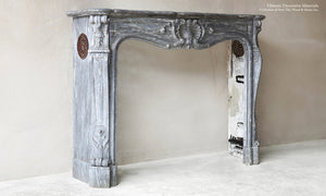 Louis XV Italian Blue Turquin Marble French 19th Century Fireplace Mantel
