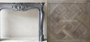 Louis XV Italian Blue Turquin Marble French 19th Century Fireplace Mantel + Kings of France 18th Century French Oak Floor in Parquet de Versailles