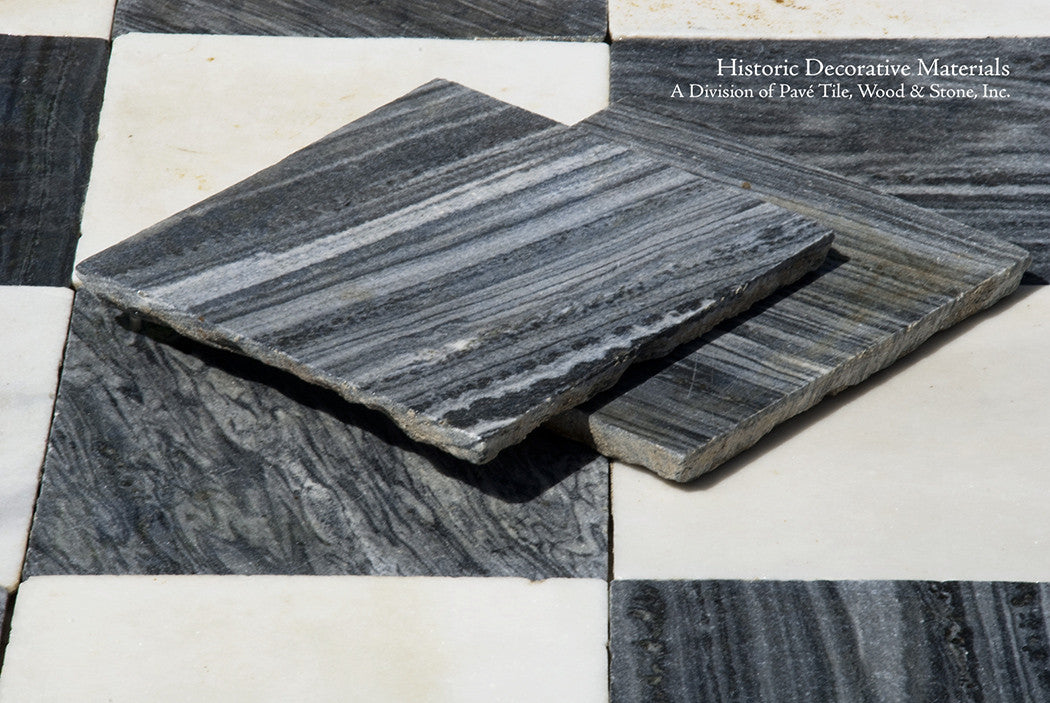 18th Century Italian Antique Black and White Marble Stone Floors