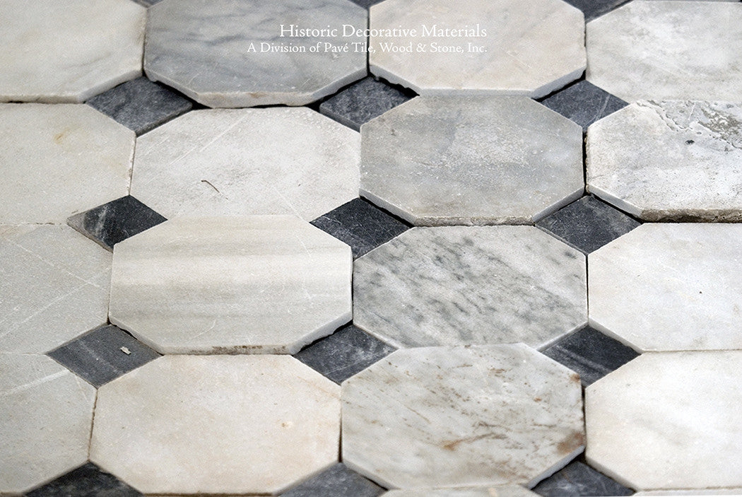 18th Century Italian Antique Black and White Marble Stone Flooring