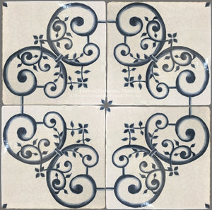 16th Century Italian Decorative Tile - Giardino on Vintage Warm White Field Tile