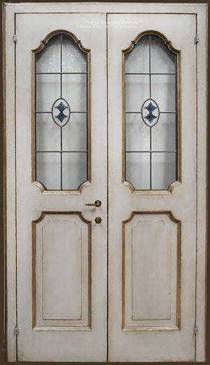 Artigianato Italiano Painted Wood Doors - Guscio d'Uovo + Stained Glass Insert