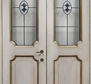 Master Crafted Antiqued Solid Wood Doors: Coquille d'Oeuf + Stained Glass Insert