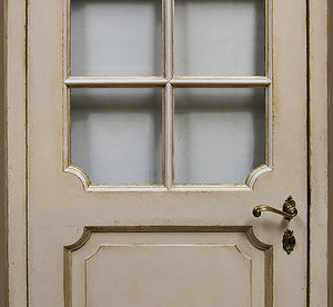 Master Crafted Antiqued Solid Wood Doors: Crème Cassée et Olive with Glass Inserts