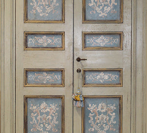 Master Crafted Antiqued Solid Wood Doors: Greige et Bleu + Trompe l'Oeil Fleuri