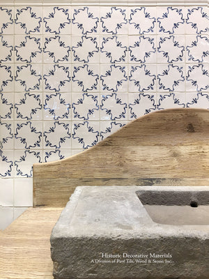 16th Century Italian Decorative Tile: Palazzo installed behind an Italian reclaimed wood and stone vanity