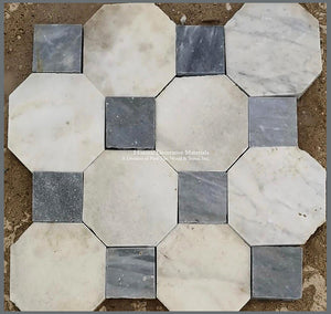 Antique Italian Bianco Carrara Octagon and Nero Cabochon Marble Stone Flooring