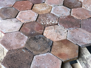 Stunning Painter's Palette II of French Reclaimed Hexagon Terra Cotta Tile