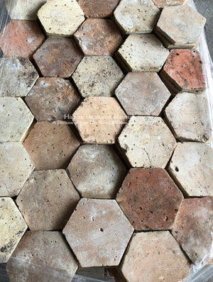 French Reclaimed Hexagon Terra Cotta Tile - Item #PA106