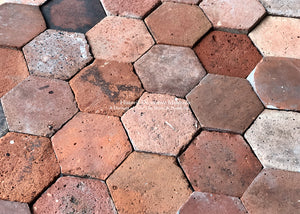 Terre de Sienne Color Palette French Reclaimed Hexagon Terra Cotta Tile