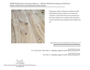 NOBLE WOODS Queen's Farmhouse Collection: +200 Year Old Reclaimed Engineered Oak Floors: Mixed Width Planks
