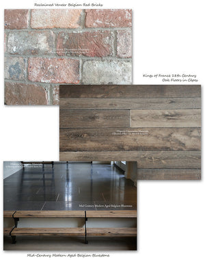 Reclaimed Veneer Belgian Brick with Kings of France Oak Floors and Mid-Century Modern Belgian Bluestone