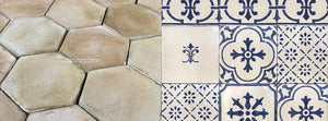 Farmhouse Provençal Réédition Yellow Wheat Terra Cotta Tile Hexagon + Monet's Blue & White Decorative Wall Tiles