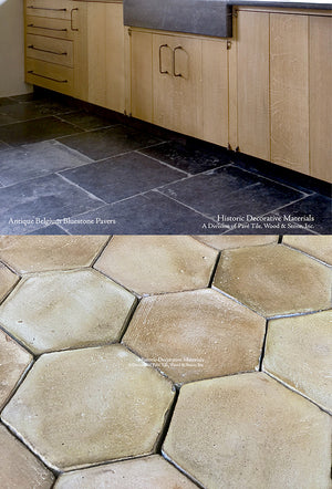 Farmhouse Provencal Terra Cotta Tile + Belgian Bluestone Tile