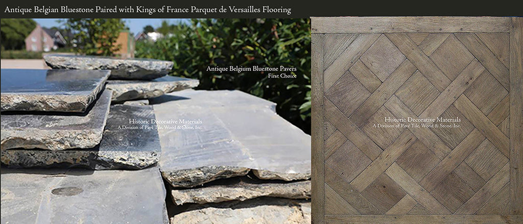 Antique Belgian Bluestone Flooring with Kings of France Aged French Oak Parquet de Versailles Panels