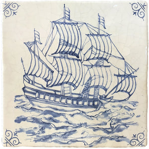 Antiqued Delft Tile Ahead on Vintage Warm White Field Tile