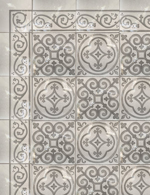 Carriage House English Encaustic Tile Collection - Queen's Medallion, English Rose & Scroll Border on Vintage Warm White