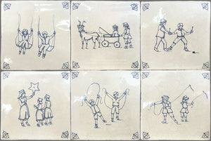 Antiqued Delft Tile Children at Play Set of 6 Tiles on Vintage Warm White Field