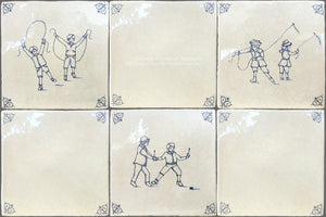 Antiqued Delft Tile Children at Play + Oxtail Corner Tiles on Vintage Warm White Field Tile