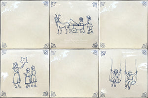 Antiqued Delft Tile Children at Play + Oxtail Corners on Vintage Warm White Field Tile