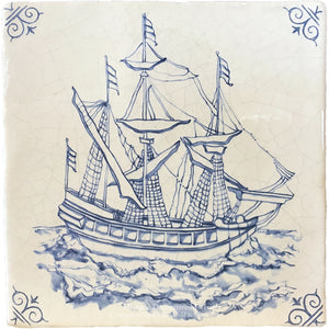Antiqued Delft Tile - Salty Seas on Vintage Warm White Field