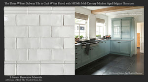 "Three Whites Glazed Ceramic 3"" x 6"" Subway Tile in Cool White paired with Mid-Century Modern Aged Belgian Bluestone"