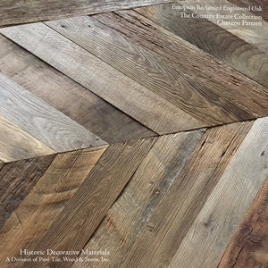 Hand Finished Reclaimed Engineered European Oak Floors in Chevron Pattern